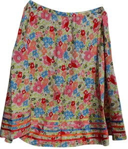 Coldwater Creek Floral Flowy Bright Breathable Embellished Skirt