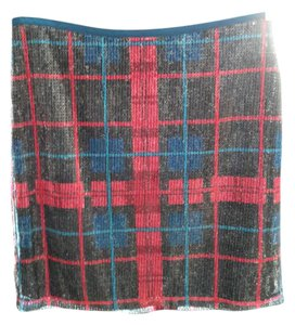 Tommy Hilfiger Pencil Plaid Sequin Skirt