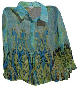 Other Crepe Sheer Bold Paisley Bright Button Down Shirt Multi-Colored