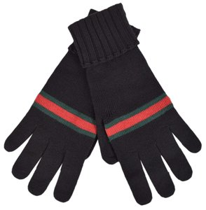 Gucci Gucci Men's 294732 BLACK Green Red Web Stripe Wool Gloves Mittens XL