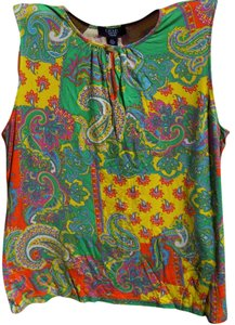 Chaps Bohemian Floral Bold Bright Soft T Shirt Multi-Colored