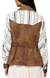 Free People Follow Your Heart Boho Spring Chic Classic Patchwork Festival Urban Patterned Buttondown Brown Jacket
