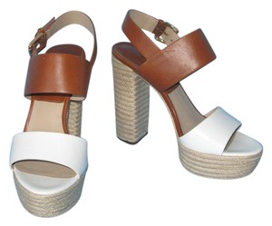 Michael Kors Kors Leather Jute Sandal White & Brown Platforms