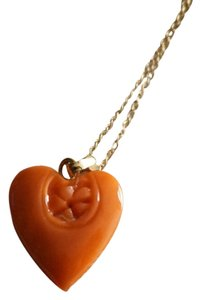 Vintage 14k Yellow Gold Carved Fine Sea Coral Heart Pendant Necklace