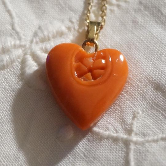 Other Vintage 14k Yellow Gold Carved Fine Sea Coral Heart Pendant Necklace