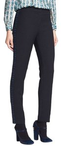 Tory Burch Tuxedo Stripe Tobi Ankle Stretch Skinny Pants Black