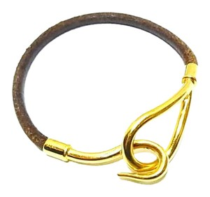 Hermès Gold/Brown Leather H Hook Bracelet France