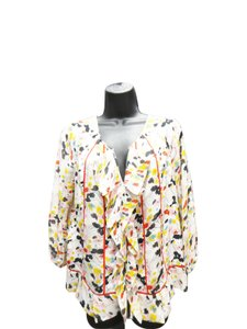 Diane von Furstenberg Dvf Dvf Flora Print Top Cream, Multi Color