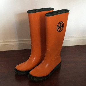 Tory Burch Orange with Forrest Green Accents Boots