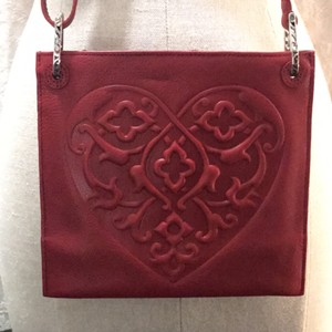 Brighton Red Embossed Cross Body Bag