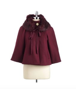 Elie Tahari Cropped Faux Fur Cape Coat