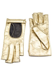 Gucci Gucci Metallic Gold Leather Fingerless Gloves Size 7.5