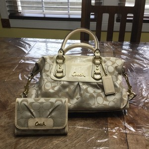 Coach Satchel in Cream & Khaki