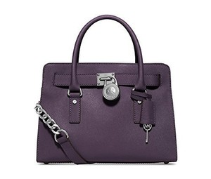 Michael Kors Hamilton Leather Satchel in Purple