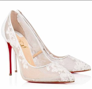 Christian Louboutin Lace Leather Bridal Evening White Formal
