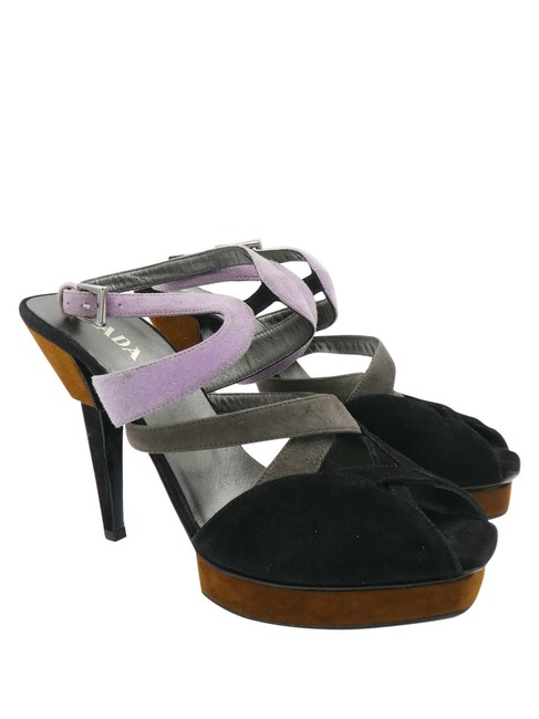 Item - Black Cognac Lilac Grey Suede Caged Platform Sandals Size EU 37.5 (Approx. US 7.5) Regular (M, B)