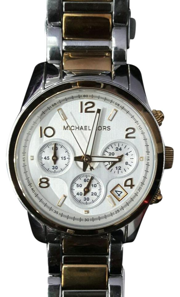 d4341b6a34e4 Michael Kors Two-tone Gold and Silver Runway Watch - Tradesy