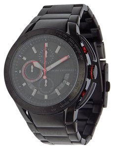 A|X Armani Exchange NWT MENS ARMANI EXCHANGE A|X (AX1404) BLACK RED ACCENT STEEL WATCH