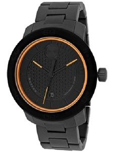 Movado NWT MENS MOVADO (3600098) BOLD MATTE BLACK TITANIUM ORANGE SWISS WATCH