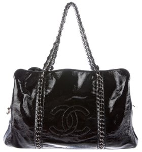 Chanel Luxe Ligne Luxury Line Grand Shopping Gst Modern Chain Tote in Black