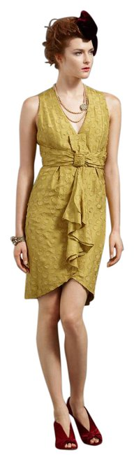 Item - Yellow Tethered Dots Mid-length Formal Dress Size 2 (XS)