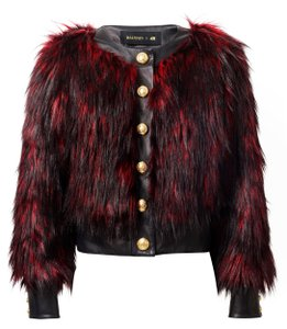 Balmain x H&M Faux Fur Formal Black and burgundy Jacket