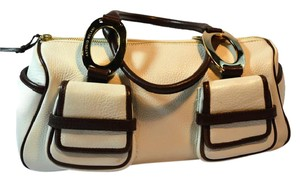 Antonio Melani Leather Satchel in White and Brown