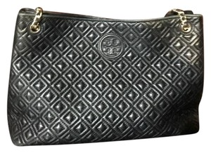 Tory Burch Leather Quilted Gold Hardware Tote in Black