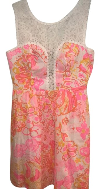 Item - White Pink Yellow Lace Detailed Short Cocktail Dress Size 0 (XS)