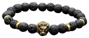 Other DF9 Natural Lava Stone Beads Black & Gold Lion Head Stretch Bracelet