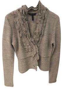 BCBGMAXAZRIA Cropped Ruffle Wool Gray Jacket