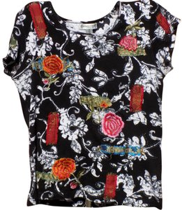Coldwater Creek Boho Soft Embellished Embroidered Classic Top Multi-Colored