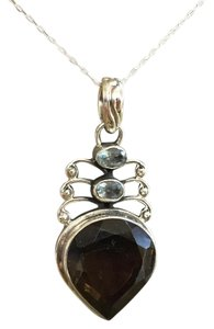Its Love - Handmade Gemstone Pendant Smoky Quartz with Blue Topaz Sterling Silver Handmade