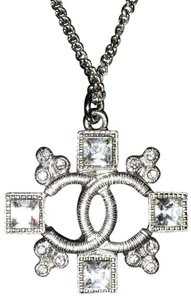 Chanel Crystal CC Logo Cluster Square Cross Cutout Pendant 15B Silver