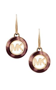 Michael Kors NEW WOMENS MICHAEL KORS (MKJ5354710) GOLD TORTOISE DROP MK EARRINGS