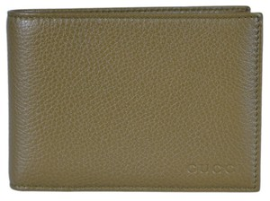 Gucci Gucci Men's 292534 Olive Green Textured Leather W/Coin Large Wallet