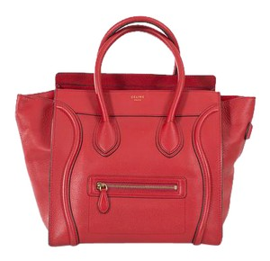 Céline Mini Luggage Leather Tote in Red