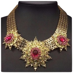 Other D30 Pink Green Austrian Crystal Starburst Gold Link Necklace