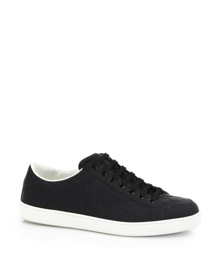 a45fa668643 Gucci Black Unisex Brooklyn Gg Lace Up Sneakers Flats Size US 7 ...