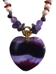 Its Love Gemstone Necklace Heart Agate Druzy Amethyst Pearls Amber Magnezite