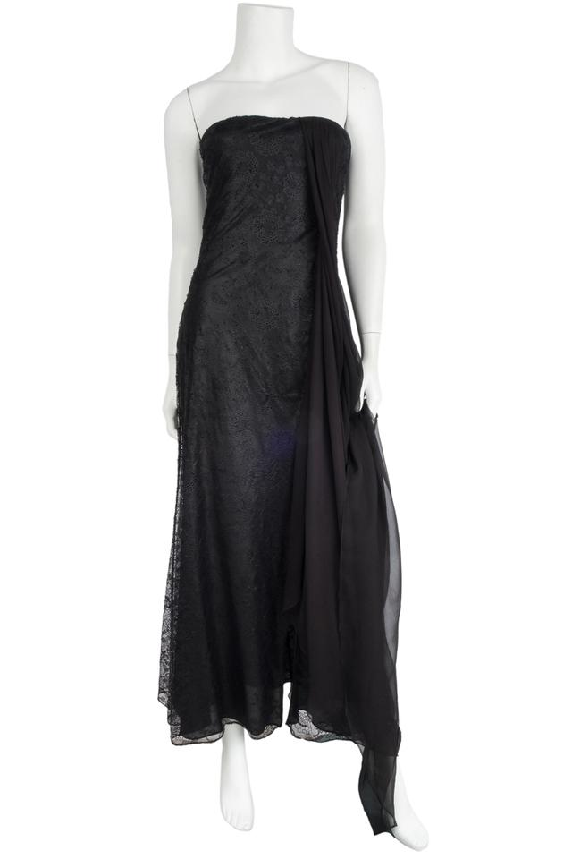 Dior Black Christian Lace Strapless Evening Long Formal Dress Size 8 ...