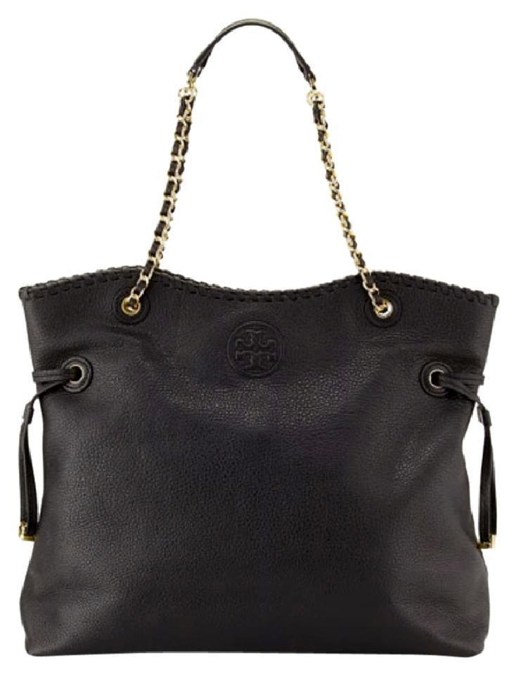 20c95f16fe5 Tory Burch Marion Ns Slouchy Black Pebbled Leather Tote - Tradesy