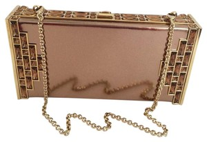 Judith Leiber Leather Crystal Bronze Clutch
