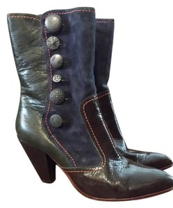 True Religion brown patent leather navy suede and grey leather Boots