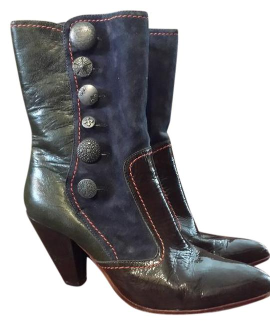 Item - Brown Patent Leather Navy Suede and Grey Leather With Silver Buttons Boots/Booties Size US 10