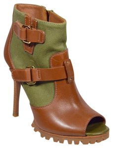 Tory Burch Peep Toe Brown and Olive Boots
