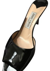 Jimmy Choo London Italian Imported Patent Leather Black Sandals