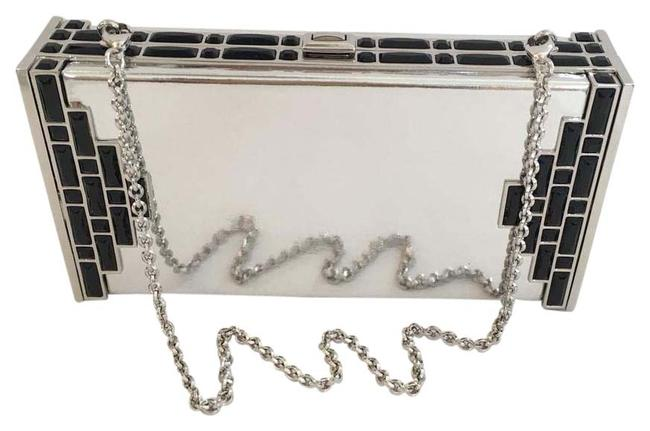 Item - Coffered Rectangle Silver Patent Leather Clutch