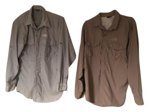 The North Face Hiking Trekking Button Down Shirt Brown
