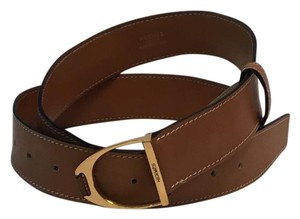 Hermès Hermes Gold Stirrup Buckle Brown 80 cm Belt